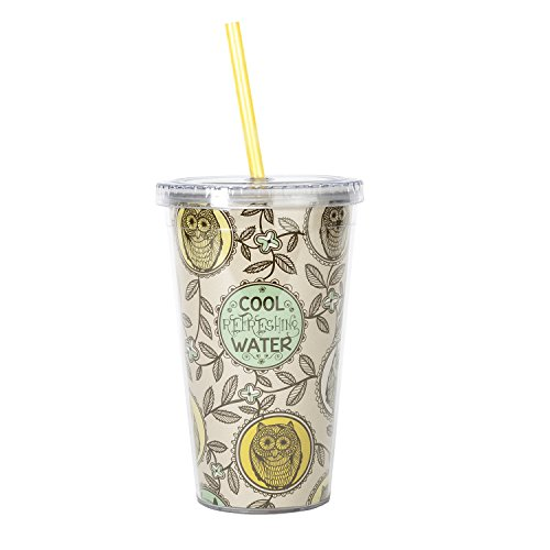 C.R. Gibson Insulated Tumbler with Straw, Nature Owl (Mom Cup With Lid compare prices)
