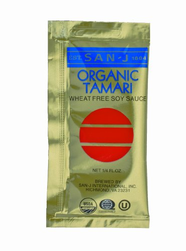 San J Organic Wheat Free Tamari Soy Sauce Gold Label Travel Packs, 200-Count Packages