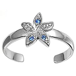Sterling Silver Fashion Toe Ring - Flower with Blue Sapphire CZ - 2mm Band Width