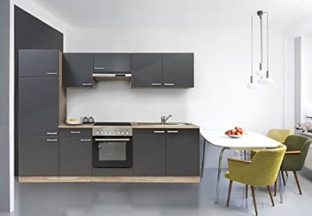 Respekta Kitchen Unit Built-In Kitchen Island 270 cm Beechwood/Grey Stainless Steel Ceramic Bgec