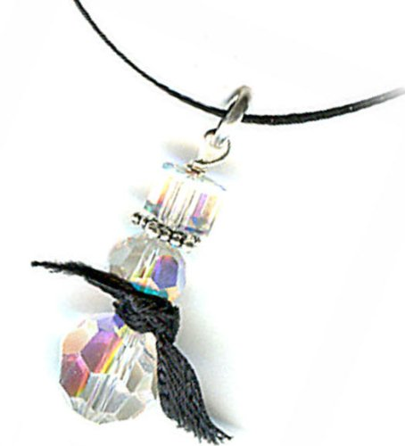 Swarovski Crystal and Sterling Silver Snowman Pendant Necklace