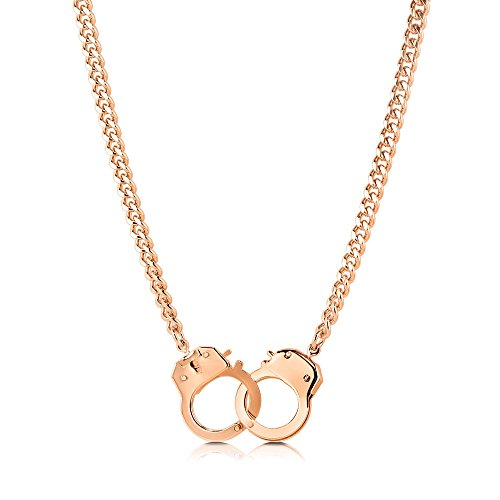 Berricle Rose Gold Plated Handcuffs Women Fashion Chain Necklace