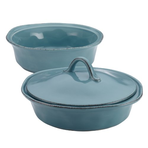 Rachael Ray Cucina Stoneware 3-Piece Round Casserole & Lid Set, Agave Blue (Rachael Ray Stoneware Cookware compare prices)