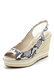 Autograph Leather Snakeskin Design Espadrille Wedge Shoes with Insolia®