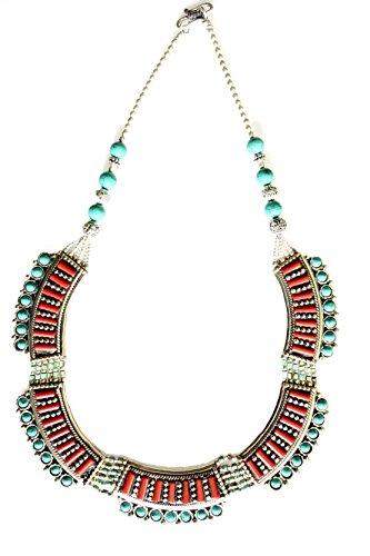 CHOKER STILE COLLANA TIBETANA PER LE DONNE Coral & TURCHESE HANDMADE collana in argento per Donna di argento tibetano ...