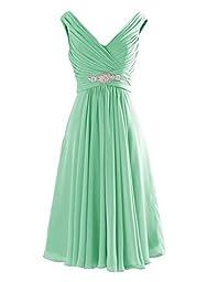 Yougao® Women\'s V Neck A-Line Knee Length Chiffon Dresses US 16 Mint Green