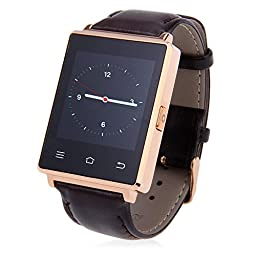 GearBest D6 3G Bluetooth GPS WiFi Smartwatch Phone with Heart Rate Monitoring for Android 5.1,IOS (Champagne gold)