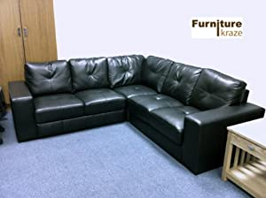 Sophisticated Black Real Leather Sofa (corner)