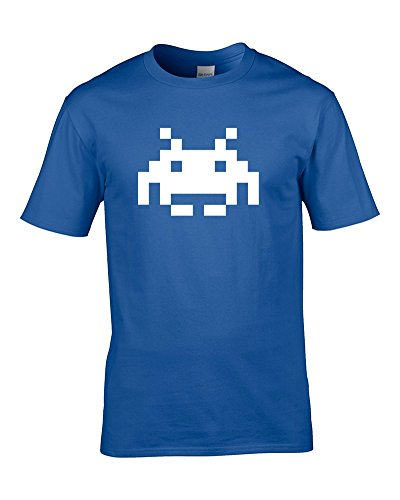 Classico ARCADE CLASSIC-SPACE INVADER-ALIEN-8-Maglietta da uomo blu medium