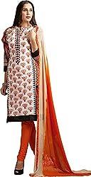 Sanvan Orange White Printed Cotton Salwar Suit Dress Material_SV245SF