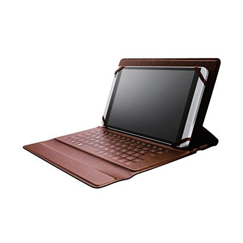 エレコム ワイヤレスキーボード ケース一体型 Bluetooth イタリアンソフトレザー 汎用 7.0-8.4インチタブレット対応 ブラック/ブラウン TK-RC10HBK