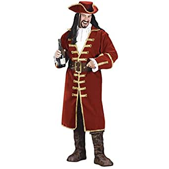 Adult Pirate Captain Costume Hook Morgan Black Heart Buccaneer Movie Mens