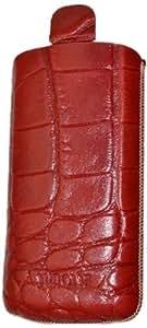 Suncase Ledertasche mit Rückzugsfunktion für das Samsung Galaxy S4 mini i9195 croco rot