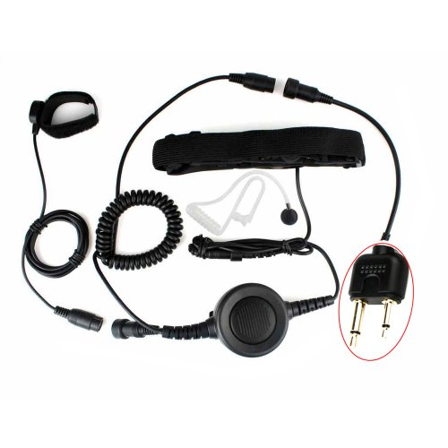 Professional Tactique Military Police Fbi Bodyguard Forehead/Throat Mic Microphone Large Armpit Ptt Covert Acoustic Tube Earpiece Headset With Finger Ptt For 2-Pin Icom Maxon Yaesu Vertex Radio
