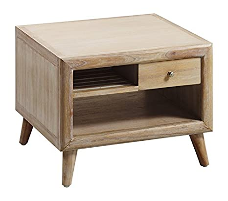 Moycor Bromo-Tavolino basso da salotto, con 2 cassetti, 2 ripiani, 60 x 60 x 45 cm