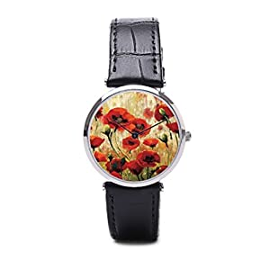 Frendship Poppies Leather Watches