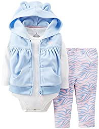 Carter\'s 3 Piece Hooded Vest Set (Baby) - Light Blue-18 Months