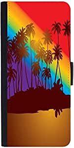 Snoogg Tropical Sunset Graphic Snap On Hard Back Leather + Pc Flip Cover Sams...