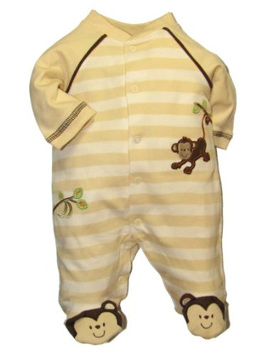 Little Me Layette Footie, Monkey Stripe, Ivory