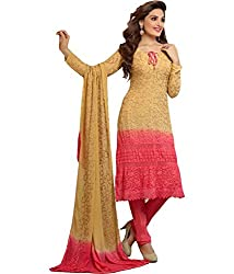 Ladli Creation Women's Georgette Semi Stitched Dress Material (LC_1469_Golden Yellow _Free Size)