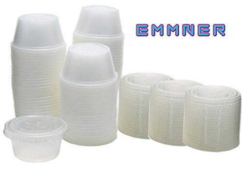 Emmner Durable Plastic Jello Shot Cups and Lids, Translucent , 1-Ounce, Package of 150 (1 2 Oz Cups compare prices)