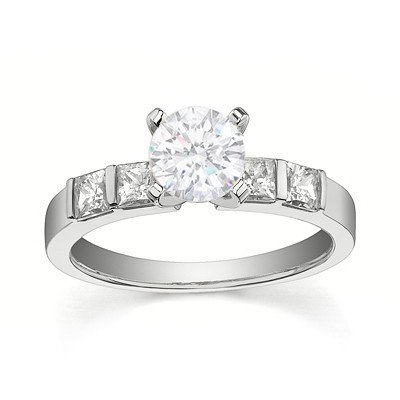0.58 Carat Inexpensive Engagement ring with Round cut Diamond on 14K White gold