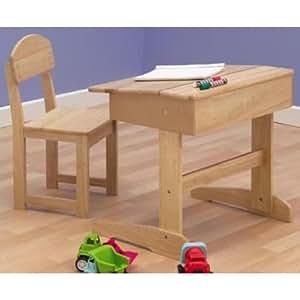bureau et chaise en bois naturel style cole b b s pu riculture. Black Bedroom Furniture Sets. Home Design Ideas