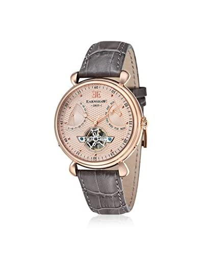 Earnshaw Men's ES-8046-03 Grand Calendar Brown/Rose Gold Leather Watch