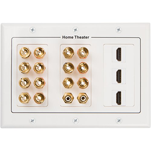 Buyer's Point 7.1 Speaker Wall Plate with 3 HDMI, Premium Quality Gold Plated Copper Banana Binding Post, with 3 Gang Low Voltage Mounting Bracket, 7 Speakers, 2 RCA Jack for Subwoofer, 3 HDMI Port (Low Profile Wall Box compare prices)
