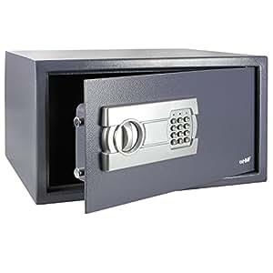 HMF Tresor passend für 15 Zoll Laptop und Ordner, Möbeltresor Laptopsafe Safe 450 x 250 x 365 mm