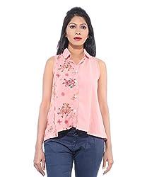 Avakasa Polyester Pink Printed Partywear Sleeveless Sleeves Top (top-02-pink)