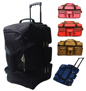 "24"" Wheeled Holdall Travel Luggage Suitcase Bag (Black/Red/Olive/Navy/Pink)"