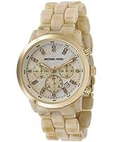 Michael Kors Women's MK5217 Oversized Horn Watch, Ivory Tone Plastic Link Quartz Chronograph Gold Tone Mother Of Pearl
