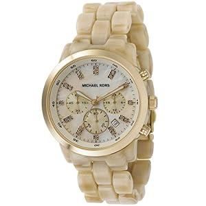 MICHAEL KORS MK5217 - Reloj analógico de cuarzo para mujer con correa de resina, color beige