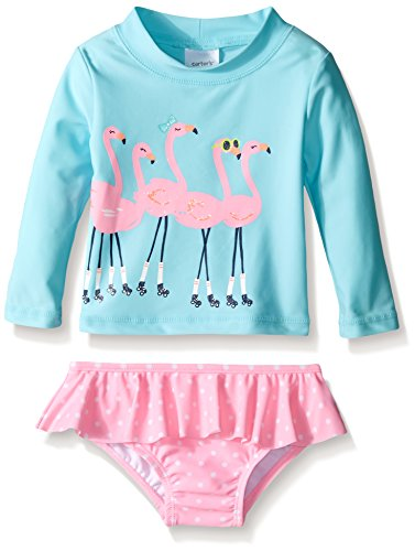 Carter 39 s baby long sleeve flamingo rash guard set blue for Baby rash guard shirt