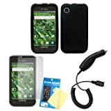 Cbus Wireless Black Silicone Case / Skin / Cover, LCD Screen Guard / Protector & Car Charger for Samsung Vibrant T959 / Galaxy S 4G T959V ~ Cbus Wireless