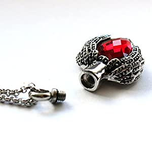 Zahara Memorial Urn Necklace (20 Inches) with Velvet Pouch & Fill Kit   Ruby Angel Heart Pendant and Chain (Nickel Free)