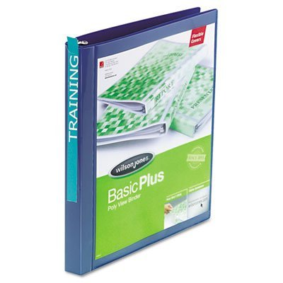 Wilson Jones Print Won't Stick Flexible Poly Round Ring View Binder, 100 Sheet, Letter Size, Customizable, Blue (A7043344DA) wilson jones view tab professional binder with 5 tabs 1 inch capacity letter size black w55763
