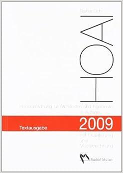 hoai 2009 textausgabe mit erl uterung und musterrechnung. Black Bedroom Furniture Sets. Home Design Ideas