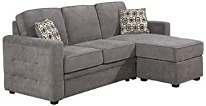 AC Pacific Lucas 2-Piece Sectional, Includes Left Arm Facing Loveseat and Chaise, Charcoal