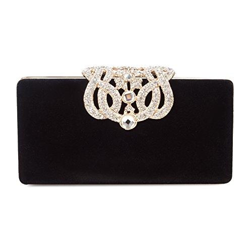 BAIGIO Borsetta con Tracolla da Donna Pochette con Diamante Elegante Borsetta da Sera Portafoglio Lungo, Nero