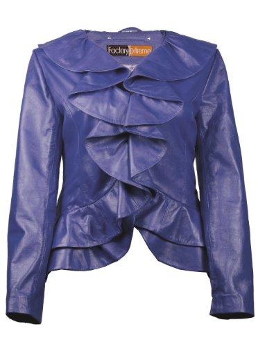FactoryExtreme Ruffled Bella Womens Blue Leather Jacket, Large, Blue