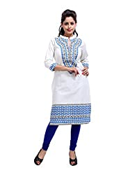 Traditional Off-White Kurti Cotton Printed Tribal Large For Womens By Rajrang