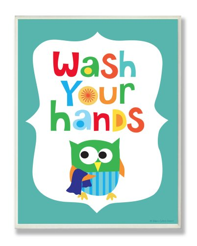 The Kids Room by Stupell Wash Your Hands on Blue Background Rectangle Wall Plaque