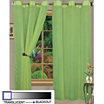 HLC.ME Pair of Lime Green Sheer Curtain Grommet Panels - 56 by 84 Inch
