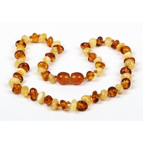 *Safety Clasp & Safety Knotted* Bouncy Baby Boutique(Tm) - Certified Authentic Baltic Amber Teething Necklace - N61 Honey & Butterscotch front-989416