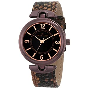 Anne Klein Women's 10/9837BNSN Brown Ion-Plated Snake Skin Print Leather Watch
