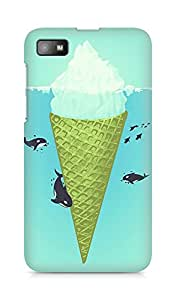 Amez designer printed 3d premium high quality back case cover for BlackBerry Z10 (Whale green sea icecream iceberg)