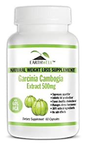 Garcinia Cambogia Extract Pure with 60% HCA Natural Weight Loss Supplement 500mg, Highest Quality Premium Diet Pill by EarthWell