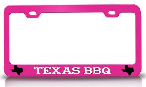 Texas BBQ Texas Map Steel Metal License Plate Frame Pn # 85